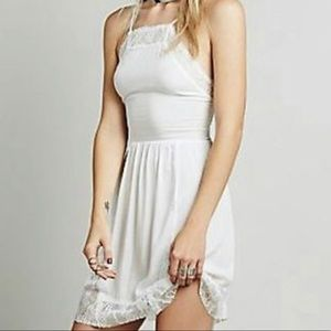 Free People Ivory lace inset swing dress